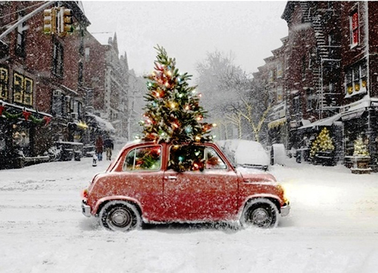 Christmas-tree-car-in-the-snow